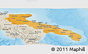Political Shades Panoramic Map of Puglia, shaded relief outside