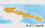 Political Shades Panoramic Map of Puglia, single color outside