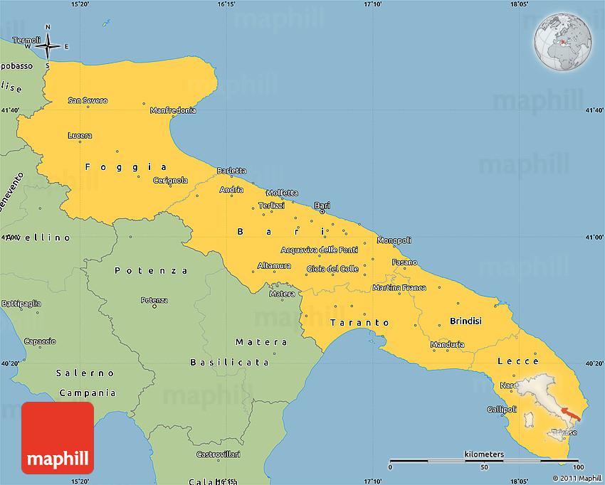 Savanna Style Simple Map Of Puglia