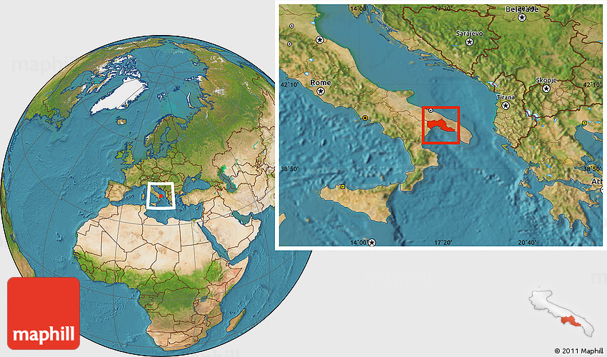 Satellite Location Map of Taranto