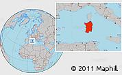 Gray Location Map of Sardegna