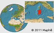 Satellite Location Map of Sardegna