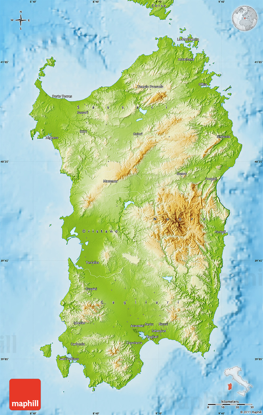 Physical Map Of Sardegna