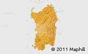Political Shades Map of Sardegna, cropped outside
