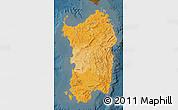 Political Shades Map of Sardegna, darken