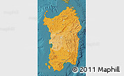 Political Shades Map of Sardegna, satellite outside