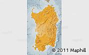 Political Shades Map of Sardegna, semi-desaturated