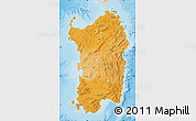Political Shades Map of Sardegna, shaded relief outside