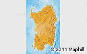 Political Shades Map of Sardegna, single color outside