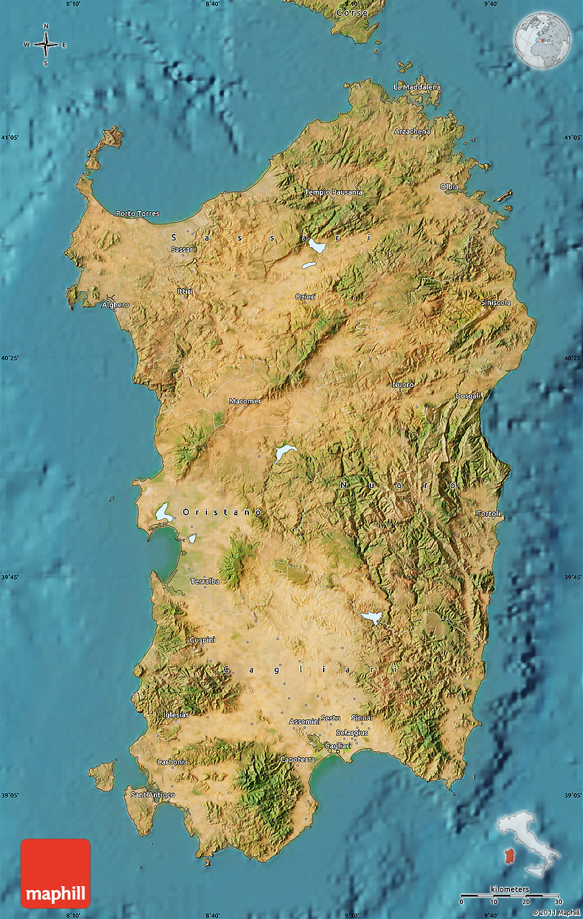 Satellite Map of Sardegna