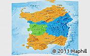 Political Panoramic Map of Sardegna