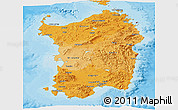 Political Shades Panoramic Map of Sardegna