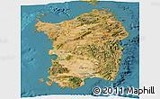 Satellite Panoramic Map of Sardegna