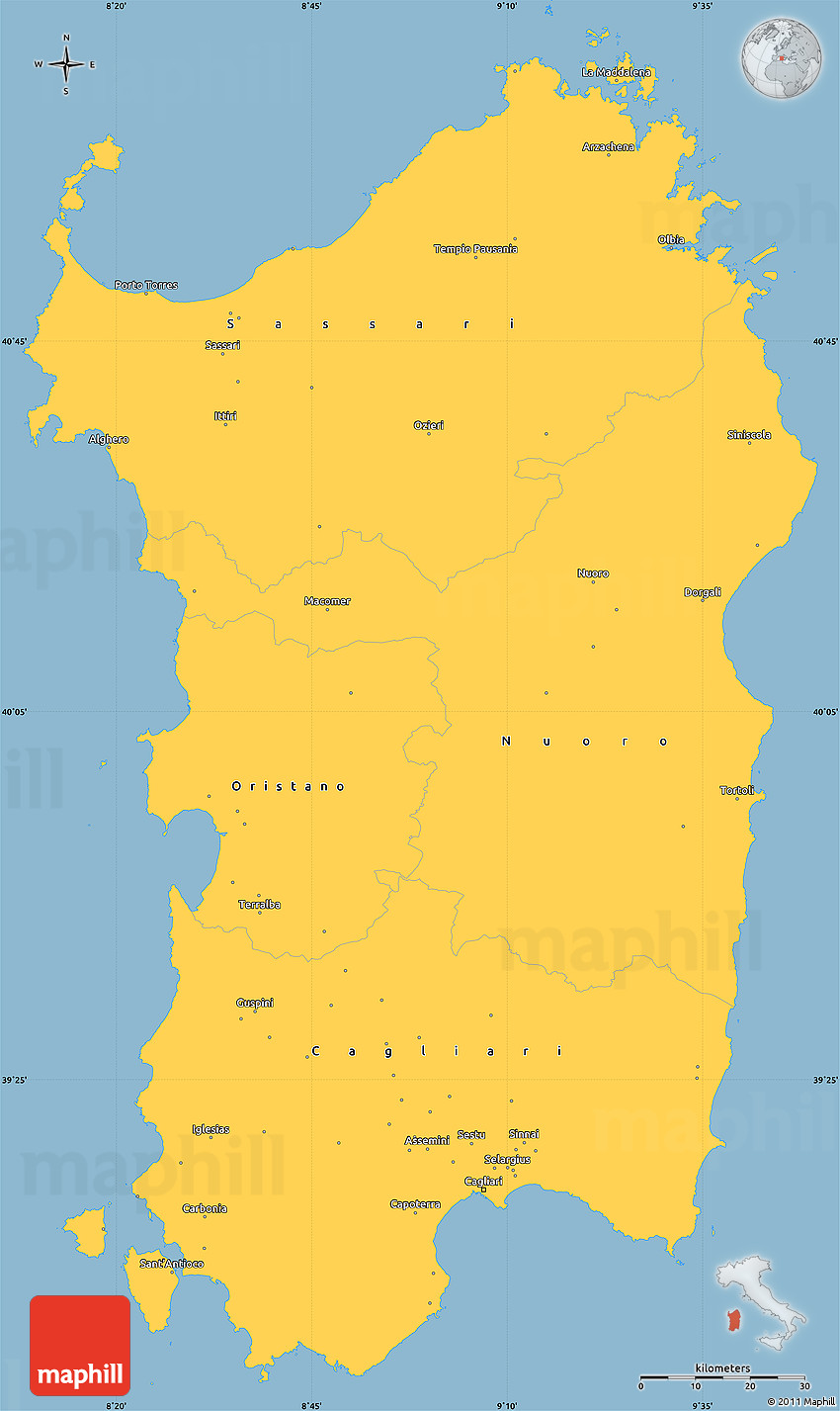 Pics Photos - Blank Simple Map Of Sardegna