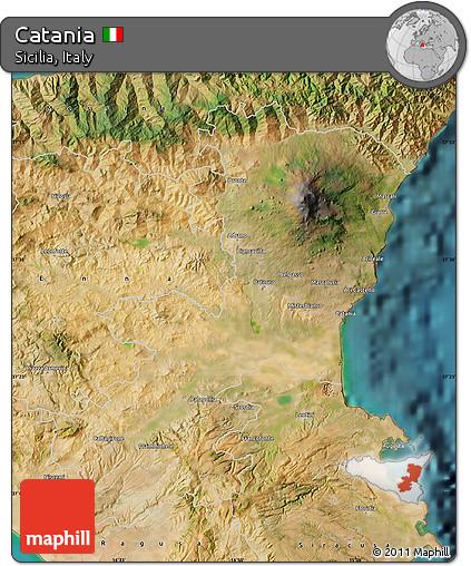 Free Satellite Map of Catania