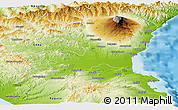 Physical Panoramic Map of Catania