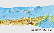 Physical Panoramic Map of Messina