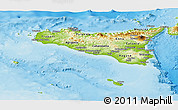 Physical Panoramic Map of Sicilia