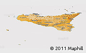 Political Shades Panoramic Map of Sicilia, cropped outside