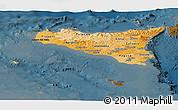 Political Shades Panoramic Map of Sicilia, darken