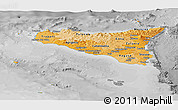 Political Shades Panoramic Map of Sicilia, desaturated