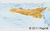Political Shades Panoramic Map of Sicilia, lighten