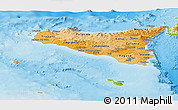 Political Shades Panoramic Map of Sicilia, physical outside