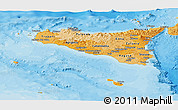 Political Shades Panoramic Map of Sicilia