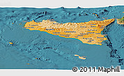 Political Shades Panoramic Map of Sicilia, satellite outside