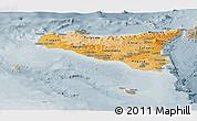 Political Shades Panoramic Map of Sicilia, semi-desaturated