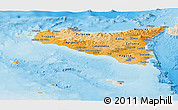 Political Shades Panoramic Map of Sicilia, shaded relief outside