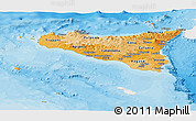 Political Shades Panoramic Map of Sicilia, single color outside
