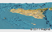 Satellite Panoramic Map of Sicilia