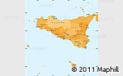 Political Shades Simple Map of Sicilia
