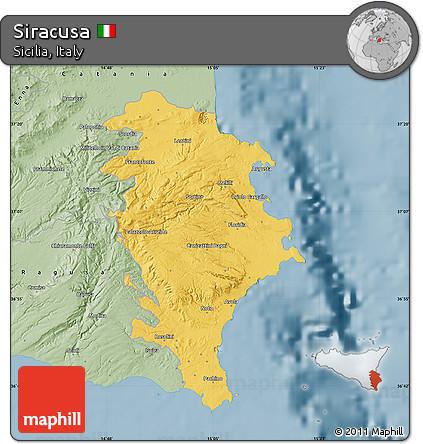 Free Savanna Style Map of Siracusa