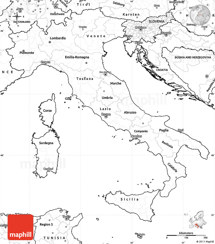 Map Of Italy And Austria With Cities.Blank Simple Map Of Italy