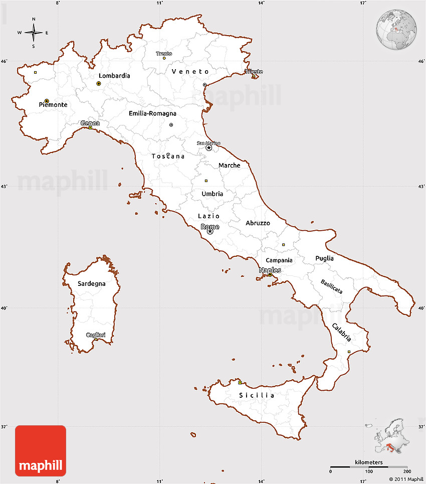 Simple Map Of Italy.Classic Style Simple Map Of Italy Cropped Outside