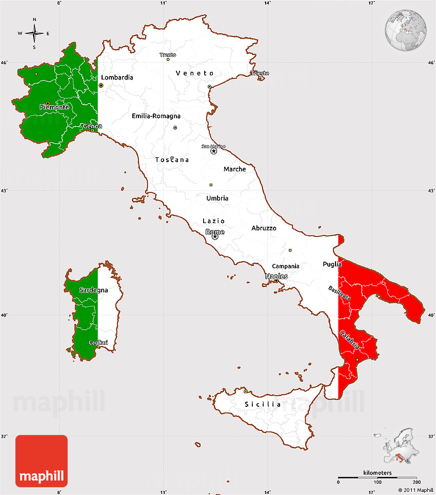 Flag Simple Map Of Italy Centered