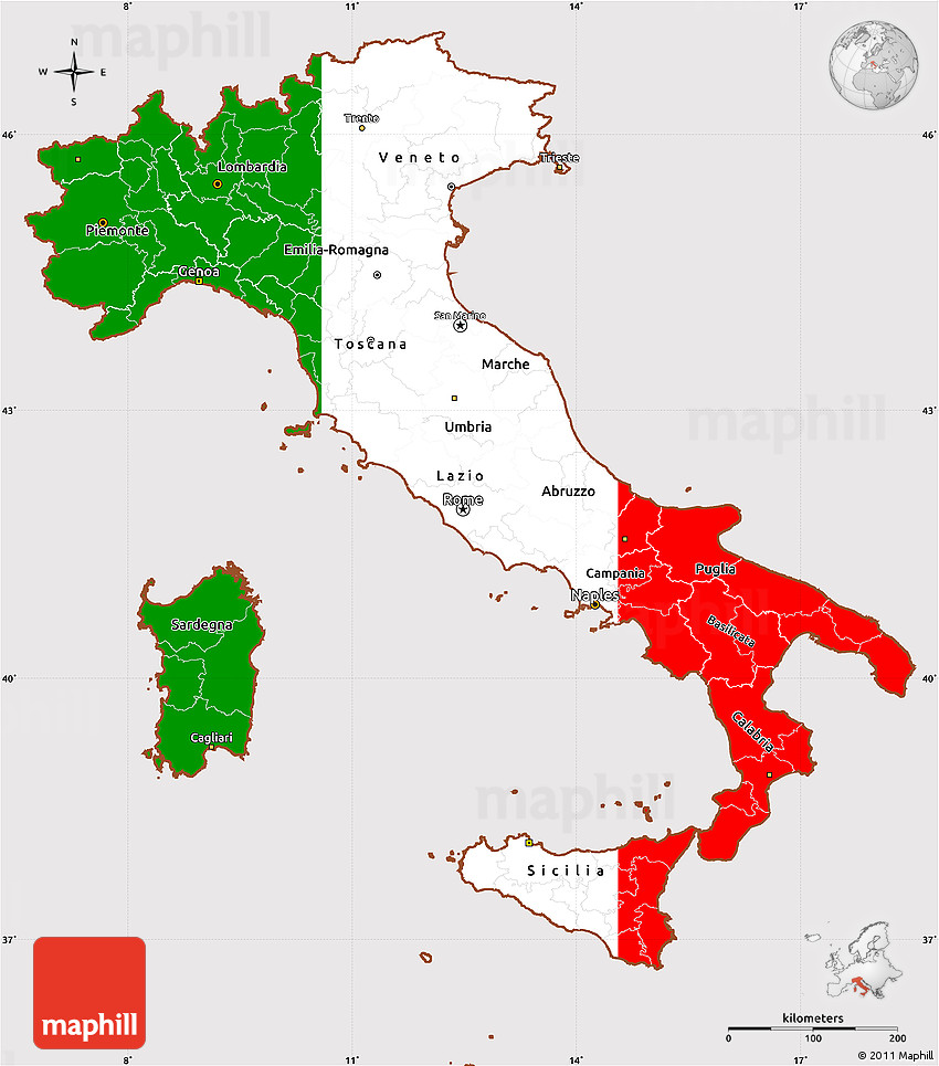 Flag Simple Map Of Italy