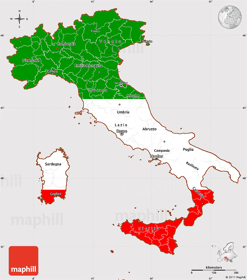 Flag Simple Map of Italy, flag rotated