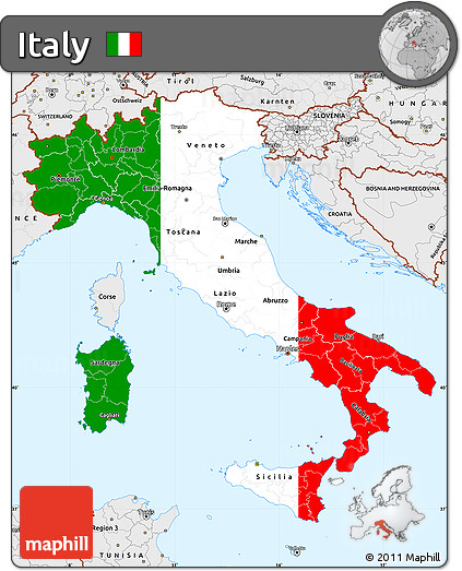 Free Flag Simple Map of Italy, single color outside, borders and