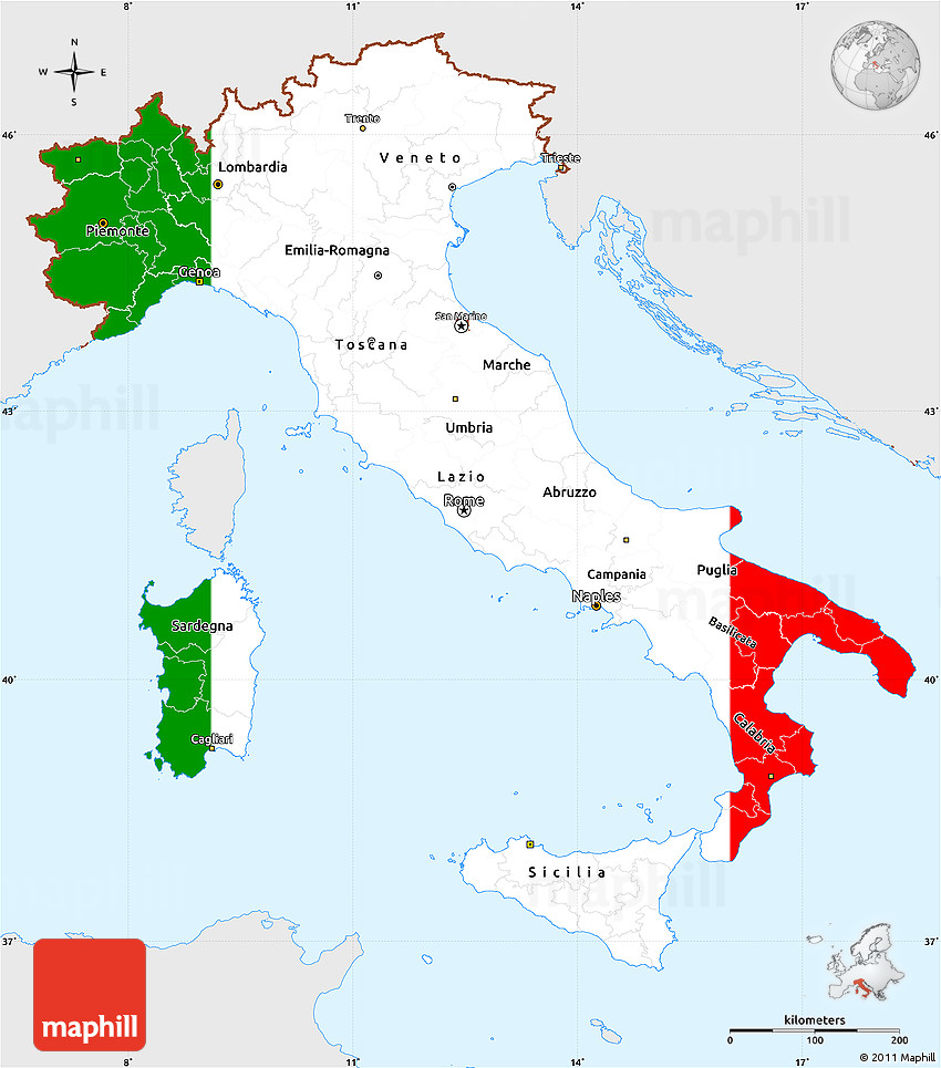 Map Of Italy Simple.Flag Simple Map Of Italy Single Color Outside Flag Centered