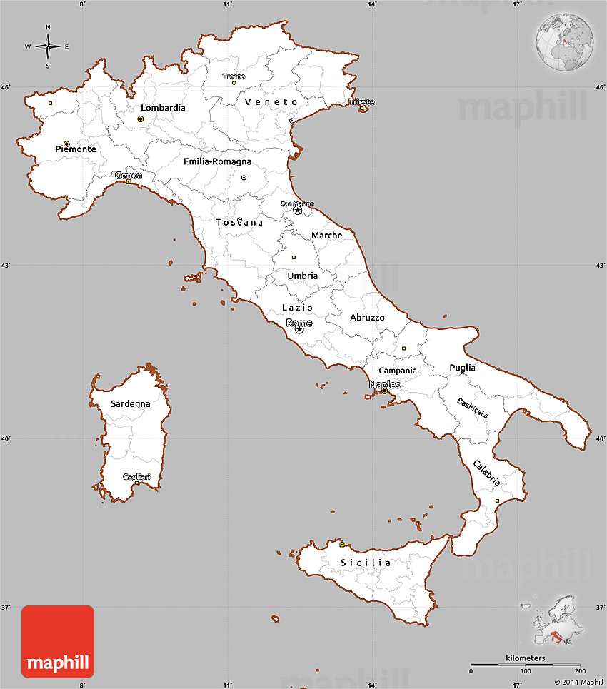 Simple Map Of Italy.Gray Simple Map Of Italy Cropped Outside