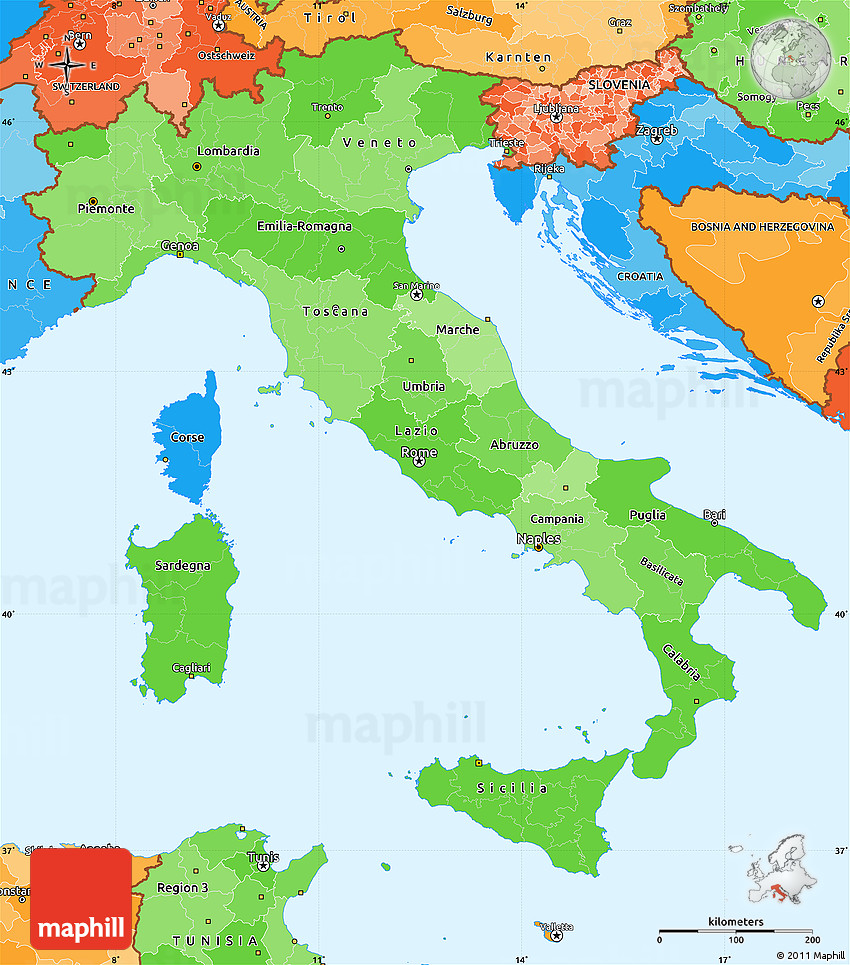 Map Of North East Italy.Political Shades Simple Map Of Italy