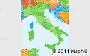 Political Shades Simple Map of Italy