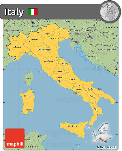 Free Map Of Italy.Free Savanna Style Simple Map Of Italy
