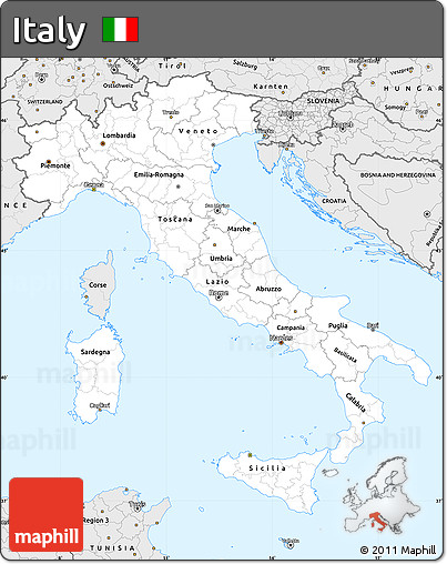 Silver Style Simple Map of Italy