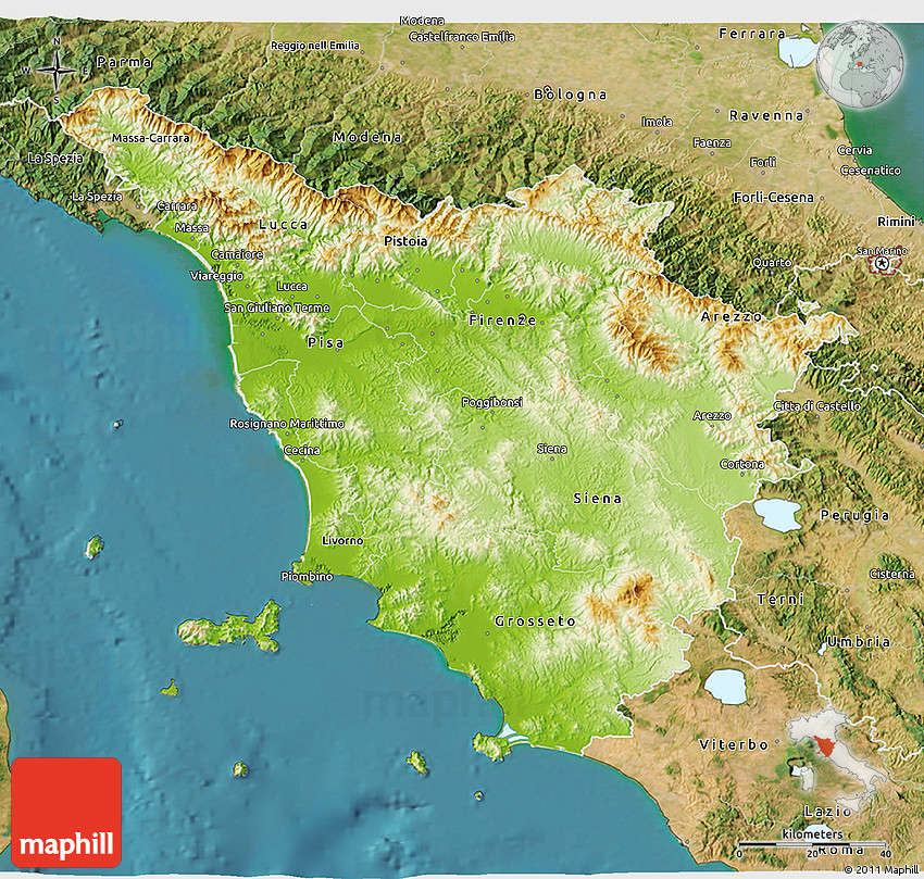 Physical 3D Map of Toscana satellite outside