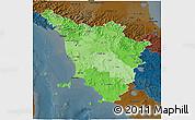 Political Shades 3D Map of Toscana, darken