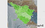 Political Shades 3D Map of Toscana, darken, semi-desaturated